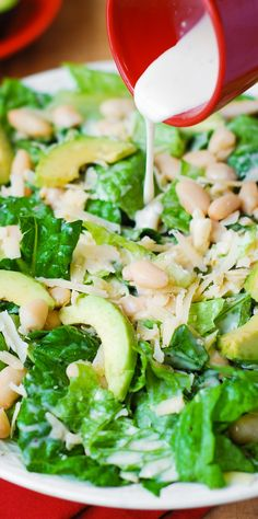 Caesar Salad with Cannellini Beans and Avocado – healthy, vegetarian salad. Creamy, rich Cannellini Beans are a great, gluten-free alternative to bread croutons!