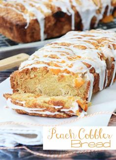 A peach cobbler bread recipe with canned peaches and a powdered sugar glaze. A peach cobbler bread recipe with canned peaches and a powdered sugar glaze. Peach Bread, Peach Cake, Peach Quick Bread, Peach Scones, Banana Bread, Cobbler Bread Recipe, Just Desserts, Dessert Recipes, Breakfast Bread Recipes