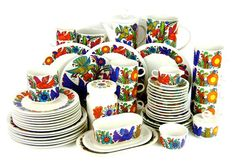 """A Villeroy and Boch """"Acapulco"""" tea service, circa 1970,  pae .8-1.2    Approx. 56 pieces. I would give every piece of my mismatched china away for this set and there are metal enamel pots and pans to match. Gorgeous."""