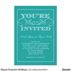 De elegante Turkooise Uitnodiging van het Huwelijk