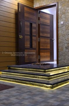 Complete interiors of a house in pune by i - design interior designer's Home Door Design, Door Gate Design, Door Design Interior, Bungalow House Design, House Front Design, Modern House Design, House Main Gates Design, Modern House Facades, Bedroom Door Design