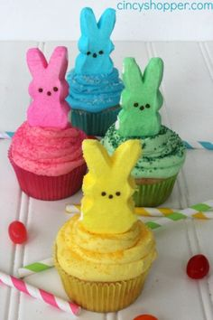 Peeps Cupcakes:  Peeps have been a staple of Easter for as long as we can remember—and they look even sweeter atop a fresh batch of cupcakes.
