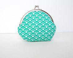 Kiss lock  frame purse teal scallop pattern- ready to ship. $16.00, via Etsy.