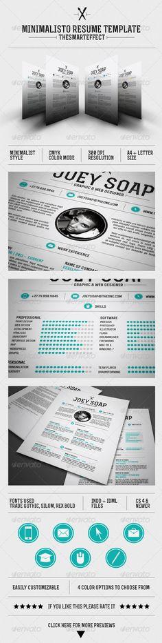 Minimalisto Resume Template - GraphicRiver Item for Sale
