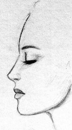 Dibujo a lápiz rostro de perfil mujer.