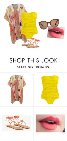 """""""Beach"""" by sydclaire ❤ liked on Polyvore featuring BLANK, J.Crew, MINNA and Tory Burch"""