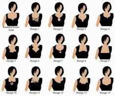 This shows blouse neckline styles. They are labeled rather obscurely other than the sweetheart one. Blouse Designs Catalogue, Sari Blouse Designs, Saree Blouse Patterns, Blouse Styles, Choli Designs, Indian Dresses, Indian Outfits, Look Fashion, Indian Fashion
