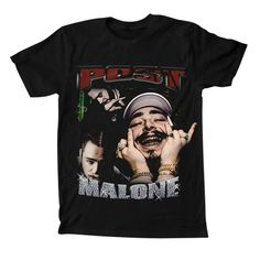 Black crewneckt-shirt features the Post Malone Hip Hop Faces graphic on thefront.