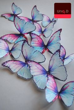 BUY 25 get 5 FREE rainbow butterflies - edible toppers - wedding cake toppers - cake decoration - edible butterflies by Uniqdots on Etsy