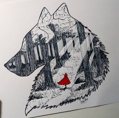 Little Red Riding Hood in the Forest by AlvesJoao Red Riding Hood Wolf, Little Red Ridding Hood, Little Red Hood, Creepy Drawings, Art Drawings, 7 Arts, Psychedelic Drawings, Principles Of Art, Red Art