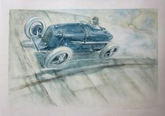 An 'Amilcar at Montlhery' lithograph after Geo Ham,