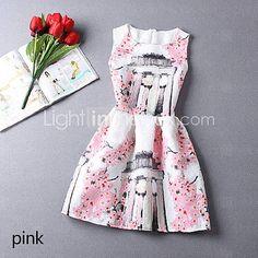 sin mangas de cuello redondo mini vestido de estampado floral de las mujeres 2015 – $12.99