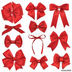 Big set of realistic red gift bows and ribbons: comprar este vector de stock y explorar vectores similares en Adobe Stock Making Hair Bows, Diy Hair Bows, Diy Bow, Diy Ribbon, Ribbon Bows, Hair Tie, Hair Ribbons, Gift Bows, Wedding Bows