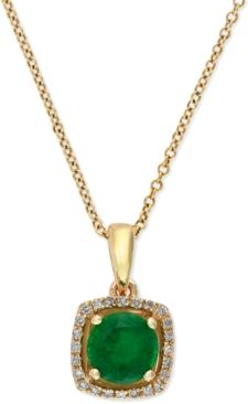 Onlookers will be green with envy! Set in 14k gold, EFFY's exquisite necklace features a round-cut emerald that's surrounded by diamond accents.