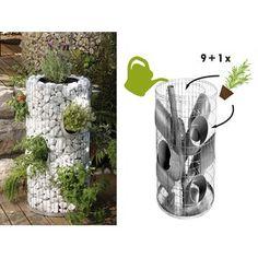 Bellissa gabion herb tower Ø 40 cm / Ø 26 cm x 80 cm - Trend Garden Decoration Garden Planters, Garden Art, Garden Design, Modern Landscaping, Backyard Landscaping, Diy Projects To Try, Garden Projects, Outdoor Wood Projects, Gardens