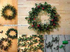 Bricolage e Decoração: Coroa(Guirlanda) de Natal Feita com Rolos de Papel Reciclados