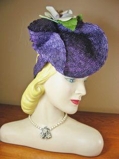 Vintage 30s 40s Purple Asymmetrical Straw Tilt Hat Flowers New York  Creation 23  0daa4ead1c94