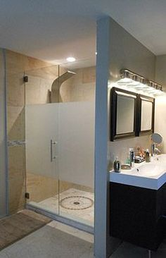 frameless glass shower doors - frosted for privacy or probably a dark not see through color