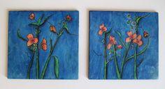 Watercolor on wood Spiderwort Flower Beeswax Original. $25.00, via Etsy.