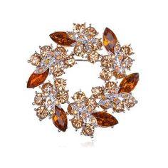 Amber Topaz Crystal Rhinestone Floral Flower Leaf Reef Craft Fashion Brooch Pin
