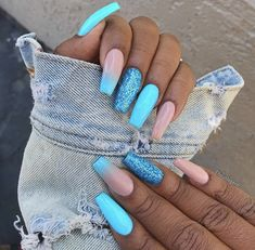 There are three kinds of fake nails which all come from the family of plastics. Acrylic nails are a liquid and powder mix. They are mixed in front of you and then they are brushed onto your nails and shaped. These nails are air dried. Solid Color Nails, Nail Colors, Short Nails, Long Nails, Cute Nails, Pretty Nails, Light Blue Nails, Bright Summer Gel Nails, Summer Nail Polish