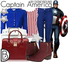 Captain America by Disneybound Marvel Inspired Outfits, Disney Inspired Fashion, Character Inspired Outfits, Disney Fashion, Marvel Fashion, Super Hero Outfits, Cute Outfits, Marvel Clothes, Superhero Clothes