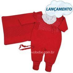 Saída de Maternidade Vermelha em Linha com Florzinha e Pérola - Verivê