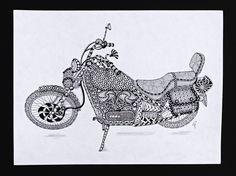 """Kawa"" by CoFoNo Zentangle® Inspired Art - Bike"