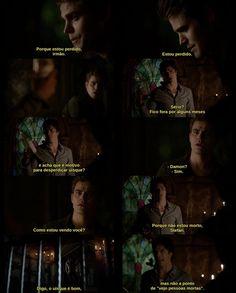 """-Digo, uisque é bom, mas não a ponto de """"vejo gente morta"""". Damon melhor pessoa kkkk"""
