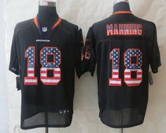 Nike Denver Broncos #18 Peyton Manning 2014 USA Flag Fashion Black Elite Jersey