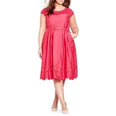 Addition Elle Michel Studio Pleated Laser-Cut Taffeta Dress ($195) ❤ liked on Polyvore featuring plus size women's fashion, plus size clothing, plus size dresses, pink, embroidered dress, pink pleated dress, keyhole dress, taffeta cocktail dress and red pleated dress