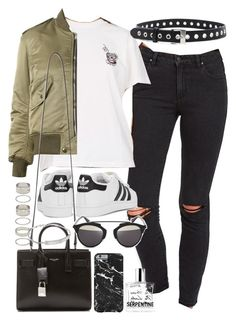 """Outfit with ripped jeans and a bomber jacket"" by ferned on Polyvore featuring rag & bone, adidas Originals, Yves Saint Laurent, Christian Dior, Forever 21, Michael Kors and Comme des Garçons"