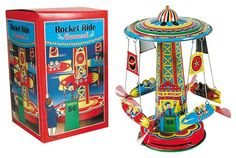 The Rocket Ride Carousel is an incredible ride that will have the rockets soaring and their propellers spinning! Just pull the lever and watch them fly! Retro Toys, Vintage Toys, Rocket Ride, Toys Logo, Western World, Lone Ranger, Tin Toys, Toy Sale, Toys
