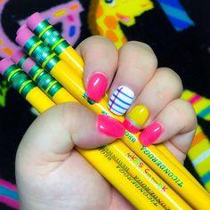 School Nail Art, Back To School Nails, Teacher Nail Art, August Nails, Girls Nails, Nail Games, Cute Nails, Sassy Nails, Funky Nails