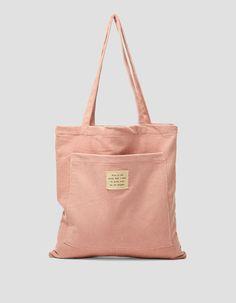 Corduroy shopper - Tassen en rugzakken| Stradivarius Netherlands Diy Tote Bag, Reusable Tote Bags, Linen Bag, Simple Bags, Shopper Bag, Cute Bags, Tote Handbags, Fashion Bags, Bag Accessories