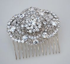 Art Deco Inspired Filigree Crystal  bridal hair comb by belcanto,