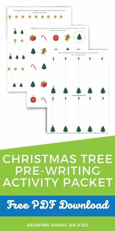 Christmas Tree Pre-Writing Activity Packet for preschoolers and kindergarten. #Christmas #ChristmasActivity #ChristmasActivities #KidsActivity #KidsActivities #PreWriting #PreWritingSkills #OccupationalTherapy #FreePrintable #OTTips Proprioceptive Activities, Rhyming Activities, Motor Activities, Hands On Activities, Therapy Activities, Writing Activities, Kindergarten Christmas, Kindergarten Age, Preschool Learning