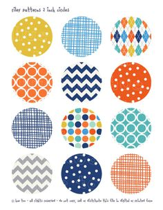 2 inch circles, boys digital collage sheet, orange yellow navy blue, boys party printable, cupcake toppers, baby shower 916. $3.50, via Etsy.
