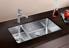Blanco Andano Stainless Steel x Left or Right Hand Bowl Undermount Kitchen Sink - Sinks from CLC Kitchens and Bedrooms UK Kitchen Taps, Kitchen Cabinetry, New Kitchen, Kitchen Ideas, Cabinets, Kitchens And Bedrooms, Home Kitchens, Blanco Sinks, Bedroom Furniture Online