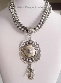 Deer antler & sterling silver feather pedant & necklace