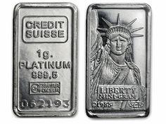 Credit Suisse 1 Gram Liberty Platinum Bar 999.9 Fine