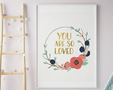 you are so loved print, navy coral nursery print, mint navy nursery wall art girl, mint gold coral nursery decor, coral mint gold baby girl Coral Nursery Decor, Coral Bedroom, Navy Nursery, Woodland Nursery Decor, Nursery Room, Nursery Ideas, Mint Coral, Coral And Gold, Mint Gold