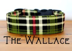 Green Red and Black Plaid Dog Collar The by PuddleJumperPups