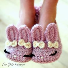 Zapato de Crochet Patrón el clásico Year-Round Bunny zapatilla - niño infantil grande tamaños 10 - 2 - patrón número 215 descarga instantánea