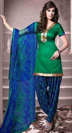 USD 20.13 Green Cotton Patiala Salwar Kameez 43456