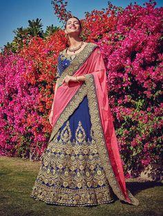 blue designer silk indian wedding lehenga choli with contrast pink dupatta