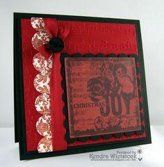 By: Kendra Wietstock; Crafter's Companion (Seasonal Music Embossalicious Embossing Folder; Believe Stamp set)
