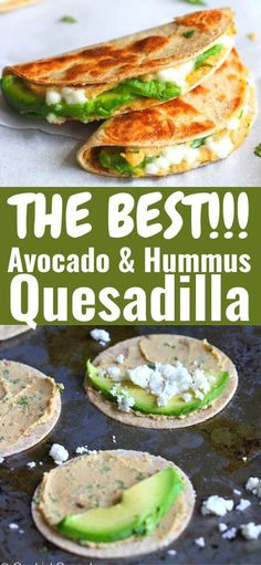 Mini Avocado & Hummus Quesadilla Recipe (Healthy Snack) Serve these mini quesadillas as healthy appetizers or snacks. Popular with both kids and adults! Stuffed with quesadilla, avocado & hummus. Avocado Hummus, Healthy Hummus, Avacado Snacks, Avocado Quesadilla, Hummus Food, Avocado Food, Easy Snacks, Healthy Snacks For Kids, Easy Meals