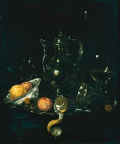 Willem Claesz. Heda (Haarlem, circa 1596 - 1680), A still life with a silver ewer, a silver beaker, a roemer and fruit in a porcelain dish and on a silver platter. Photo Sotheby's