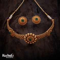 South Traditional Antique Jewellery Choker Necklace, Studded with Green Synthetic stones made in Copper Alloy. Gold Mangalsutra Designs, Gold Jewellery Design, Gold Jewelry, Gold Necklaces, Trendy Jewelry, Gold Stud Earrings, Wedding Jewelry, Diamond Necklaces, Bead Jewellery